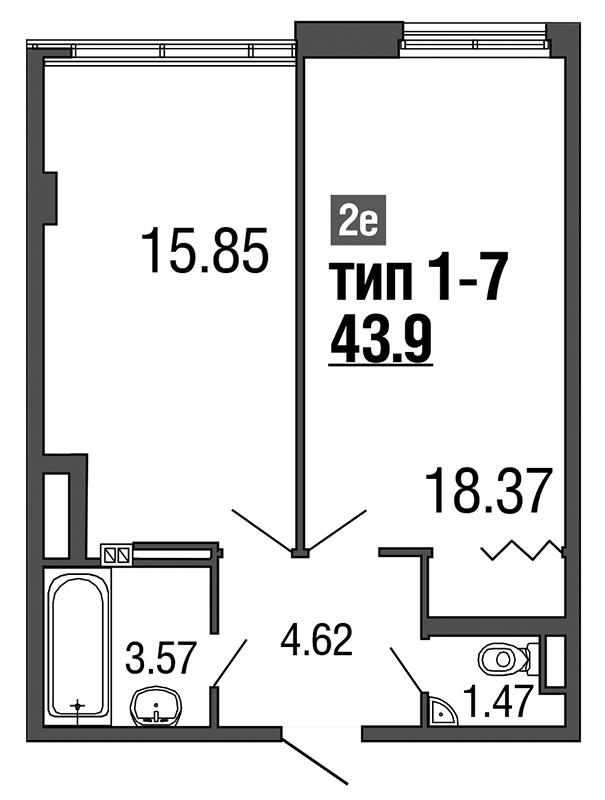 Планировка Двухкомнатная квартира (Евро) площадью 43.9 кв.м в ЖК «ArtStudio»