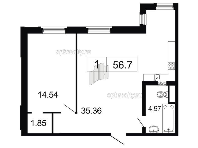 Планировка Двухкомнатная квартира площадью 56.7 кв.м в ЖК «ArtStudio»