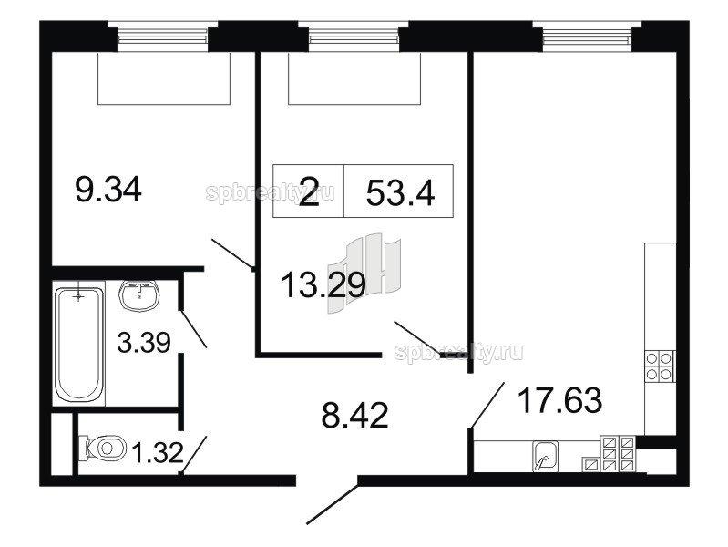 Планировка Двухкомнатная квартира площадью 53.4 кв.м в ЖК «ArtStudio»