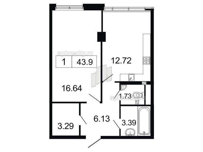 Планировка Однокомнатная квартира площадью 43.9 кв.м в ЖК «ArtStudio»