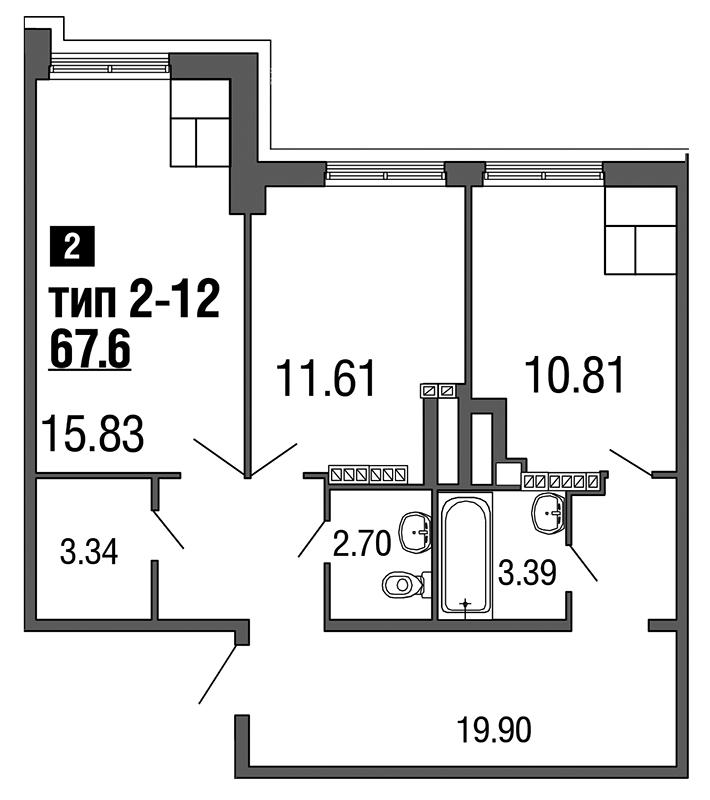Планировка Двухкомнатная квартира площадью 67.6 кв.м в ЖК «ArtStudio»