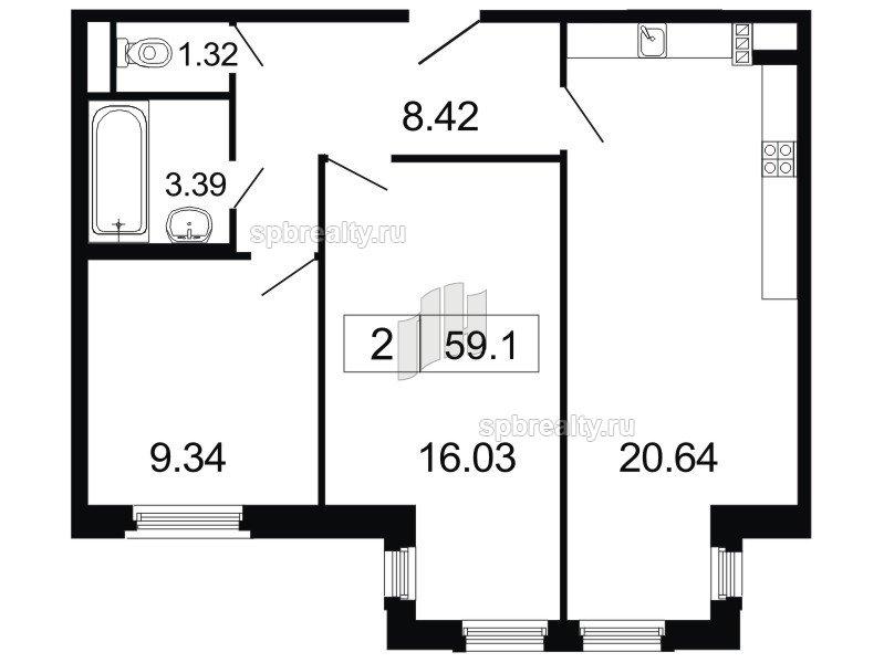Планировка Двухкомнатная квартира площадью 59.1 кв.м в ЖК «ArtStudio»