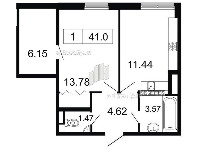 Планировка Однокомнатная квартира площадью 41 кв.м в ЖК «ArtStudio»