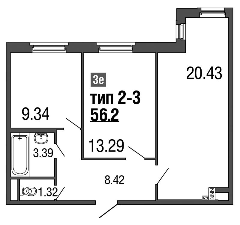 Планировка Трёхкомнатная квартира (Евро) площадью 56.2 кв.м в ЖК «ArtStudio»