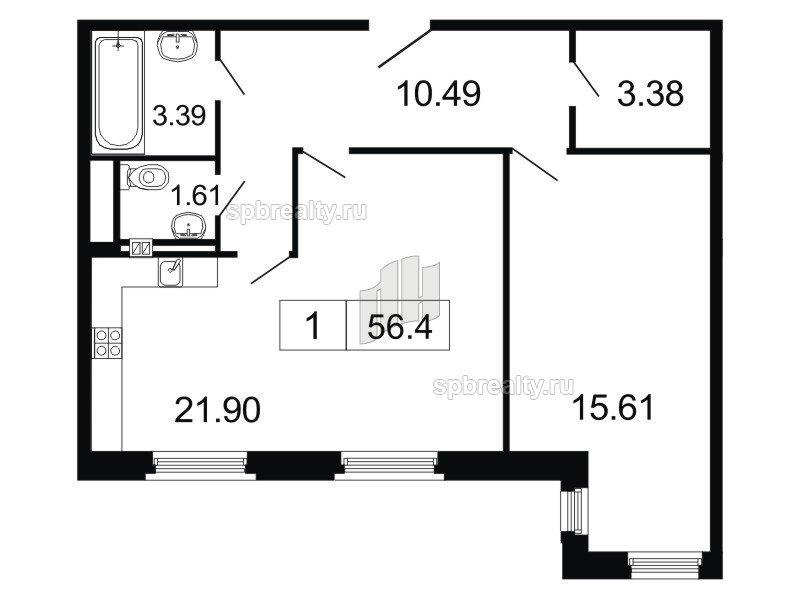 Планировка Двухкомнатная квартира площадью 56.4 кв.м в ЖК «ArtStudio»