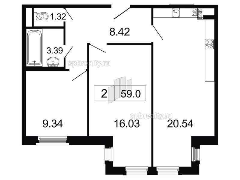 Планировка Двухкомнатная квартира площадью 59 кв.м в ЖК «ArtStudio»