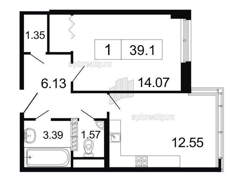 Планировка Однокомнатная квартира площадью 39.1 кв.м в ЖК «ArtStudio»