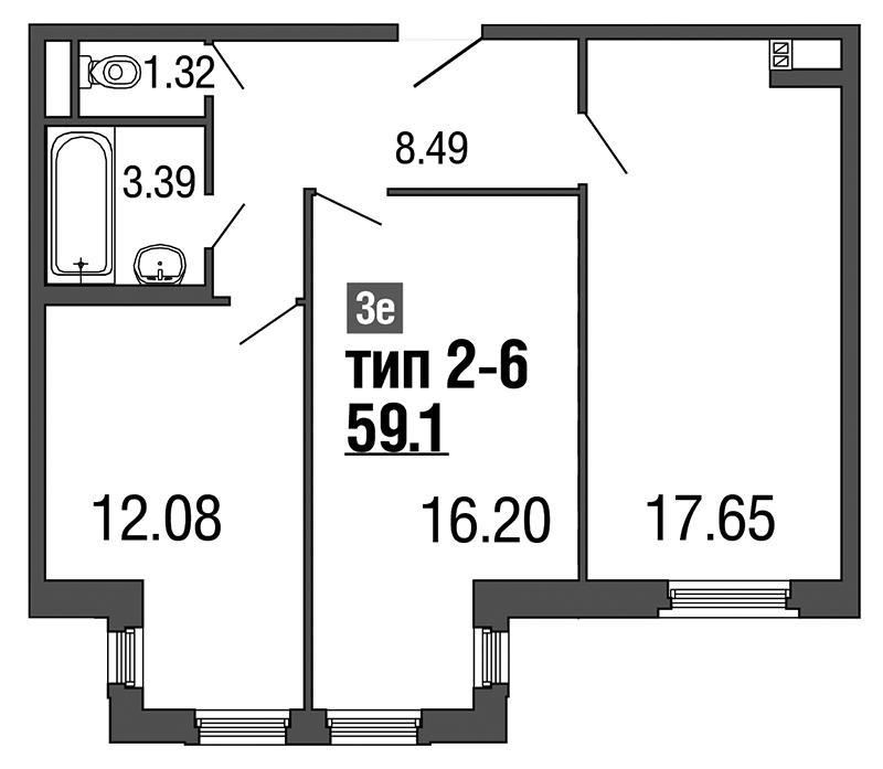 Планировка Трёхкомнатная квартира (Евро) площадью 59.1 кв.м в ЖК «ArtStudio»