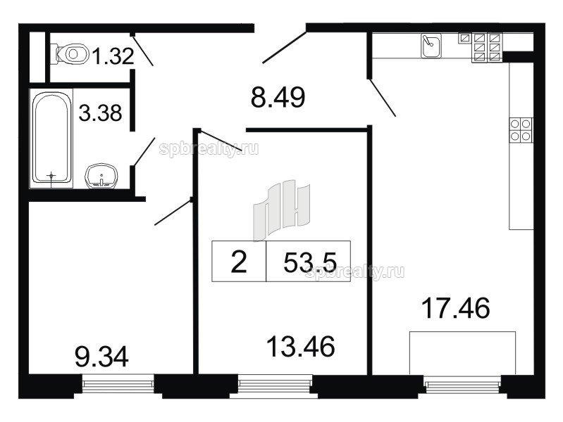 Планировка Двухкомнатная квартира площадью 53.5 кв.м в ЖК «ArtStudio»