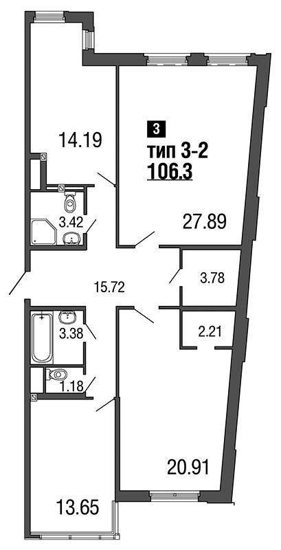 Планировка Трёхкомнатная квартира площадью 106.3 кв.м в ЖК «ArtStudio»