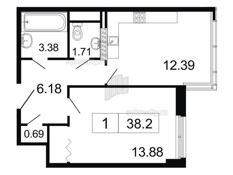 Планировка Однокомнатная квартира площадью 38.2 кв.м в ЖК «ArtStudio»