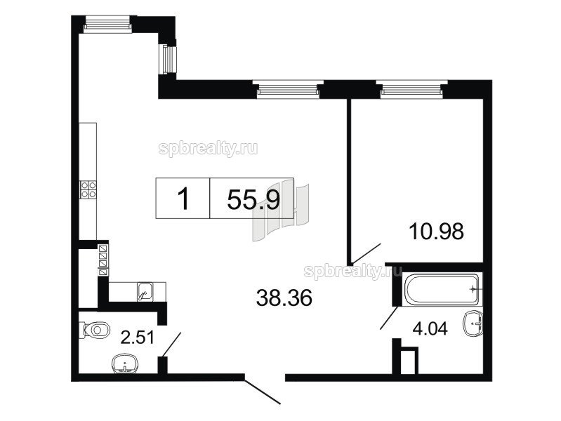 Планировка Двухкомнатная квартира площадью 55.9 кв.м в ЖК «ArtStudio»