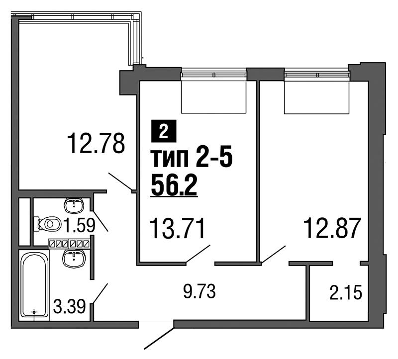 Планировка Двухкомнатная квартира площадью 56.2 кв.м в ЖК «ArtStudio»