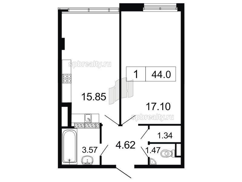 Планировка Однокомнатная квартира площадью 44 кв.м в ЖК «ArtStudio»