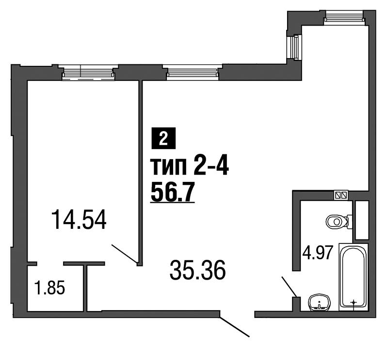 Планировка Двухкомнатная квартира (Евро) площадью 56.7 кв.м в ЖК «ArtStudio»