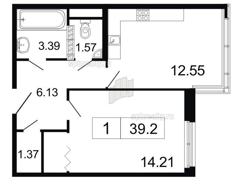 Планировка Однокомнатная квартира площадью 39.2 кв.м в ЖК «ArtStudio»