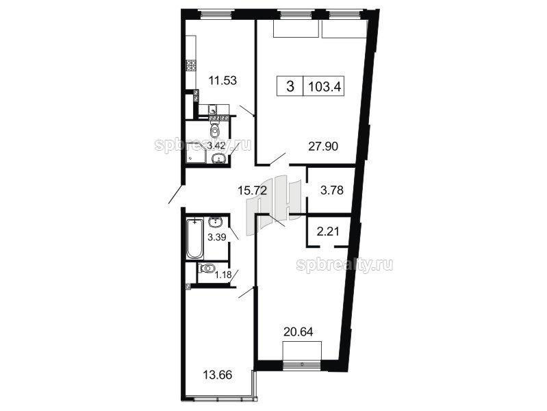 Планировка Трёхкомнатная квартира площадью 103.4 кв.м в ЖК «ArtStudio»