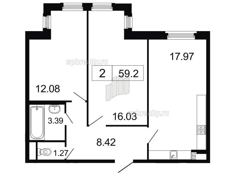 Планировка Двухкомнатная квартира площадью 59.2 кв.м в ЖК «ArtStudio»