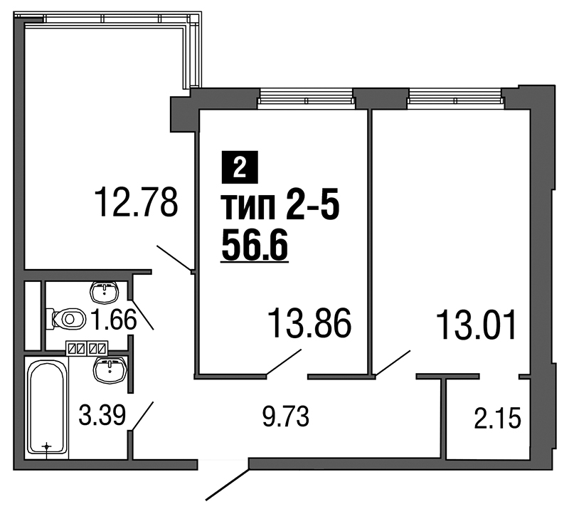 Планировка Двухкомнатная квартира площадью 56.6 кв.м в ЖК «ArtStudio»